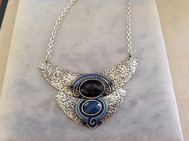 New Ananna Silver Toned and Turquoise Navy Blue Pendant Necklace Large