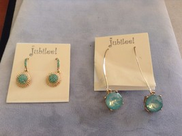 New Jubilee Earring Set 2 Two Pieces Green Blue Hanging Gold Toned