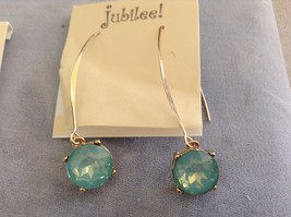 New Jubilee Earring Set 2 Two Pieces Green Blue Hanging Gold Toned image 2
