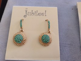 New Jubilee Earring Set 2 Two Pieces Green Blue Hanging Gold Toned image 3