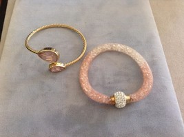 New Rose Pink 2 Piece Bracelet Set Gold Toned Gems Pink Mesh Stones Silver Gem