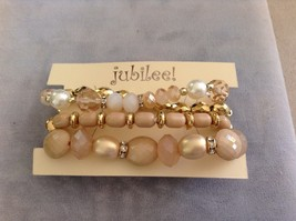 New Jubilee Rose Gold Toned Four 4 Piece Bracelet Set Elastic