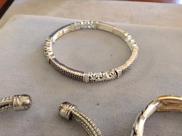 New Three 3 Piece Silver Toned Gold Toned Bracelet Set Two Elastic One Cuff