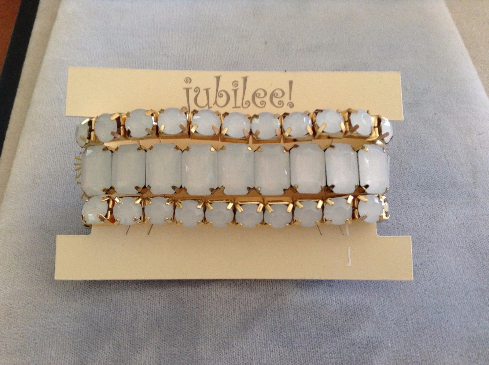 New Jubilee Gold Toned and Gray Gem 3 Three Pieces Elastic Bracelet Set