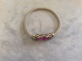 New Silver Toned Bracelet With Purple Gem Swirl Pattern Stretchy Band