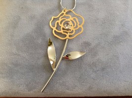 New Silver Toned Gold Toned Rose with Simulated Diamond Center