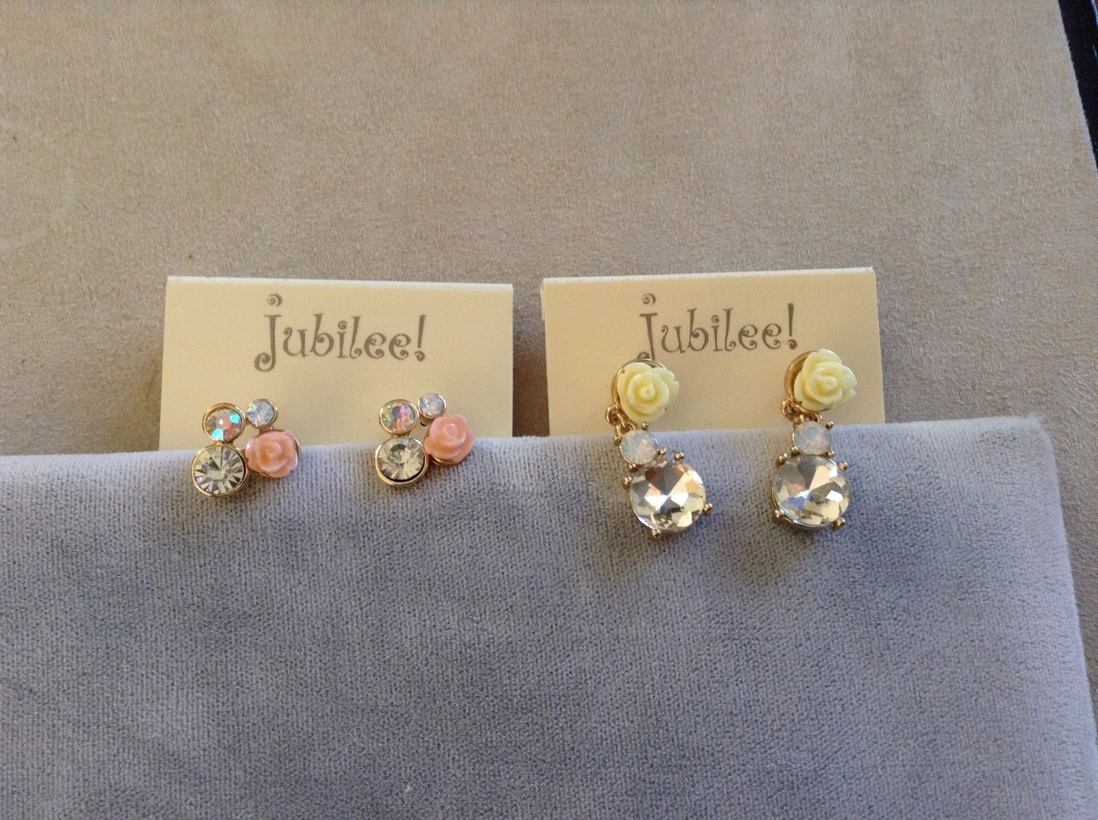 New Jubilee Two 2 Sets of Rose Earrings Cream Simulated Diamonds Studs Hanging