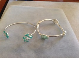 New Two 2 Piece Ocean Themed Bracelet Set One Cuff One Elastic Seashell Starfish