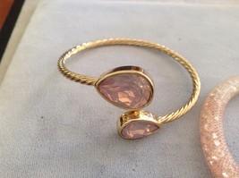 New Rose Pink 2 Piece Bracelet Set Gold Toned Gems Pink Mesh Stones Silver Gem image 2