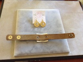 New Lizzy J's 2 Two Piece Gold Toned Set Bracelet Earrings Silver Toned Leather image 5