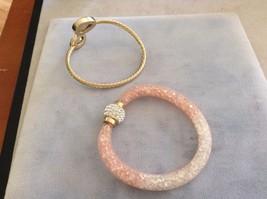 New Rose Pink 2 Piece Bracelet Set Gold Toned Gems Pink Mesh Stones Silver Gem image 4