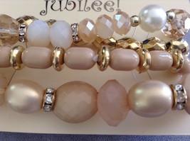 New Jubilee Rose Gold Toned Four 4 Piece Bracelet Set Elastic image 2
