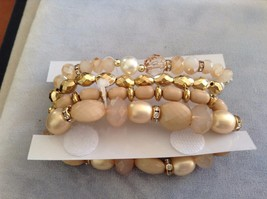 New Jubilee Rose Gold Toned Four 4 Piece Bracelet Set Elastic image 3