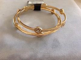 New Three Piece Gold Toned Bangle Bracelet Set With Round Stones image 2