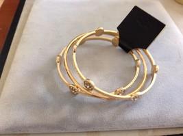 New Three Piece Gold Toned Bangle Bracelet Set With Round Stones image 3