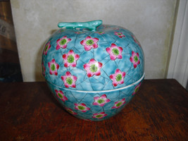 Large apple shaped hand painted pink floral blu... - $17.82