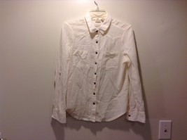Used Good Condition Cream Button Up Women's Long Sleeved Shirt MUDD