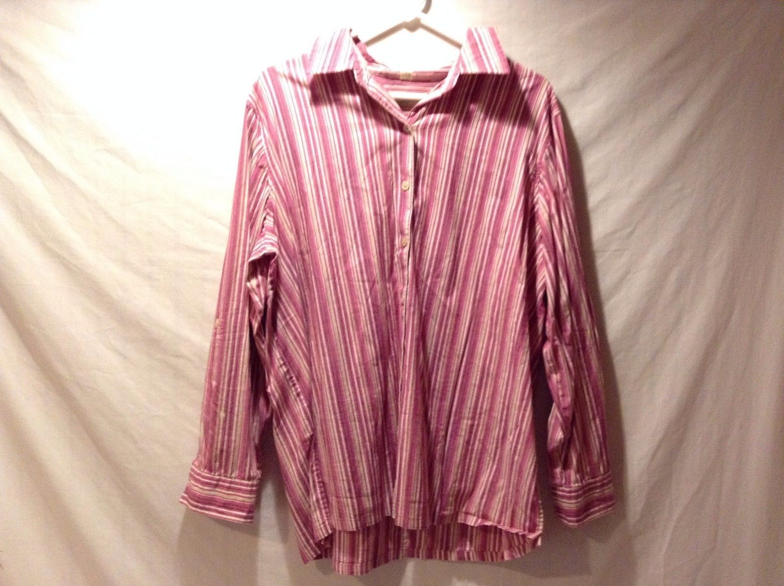 Used Great Condition Classical Elements Women's Pink Striped Button Up Shirt