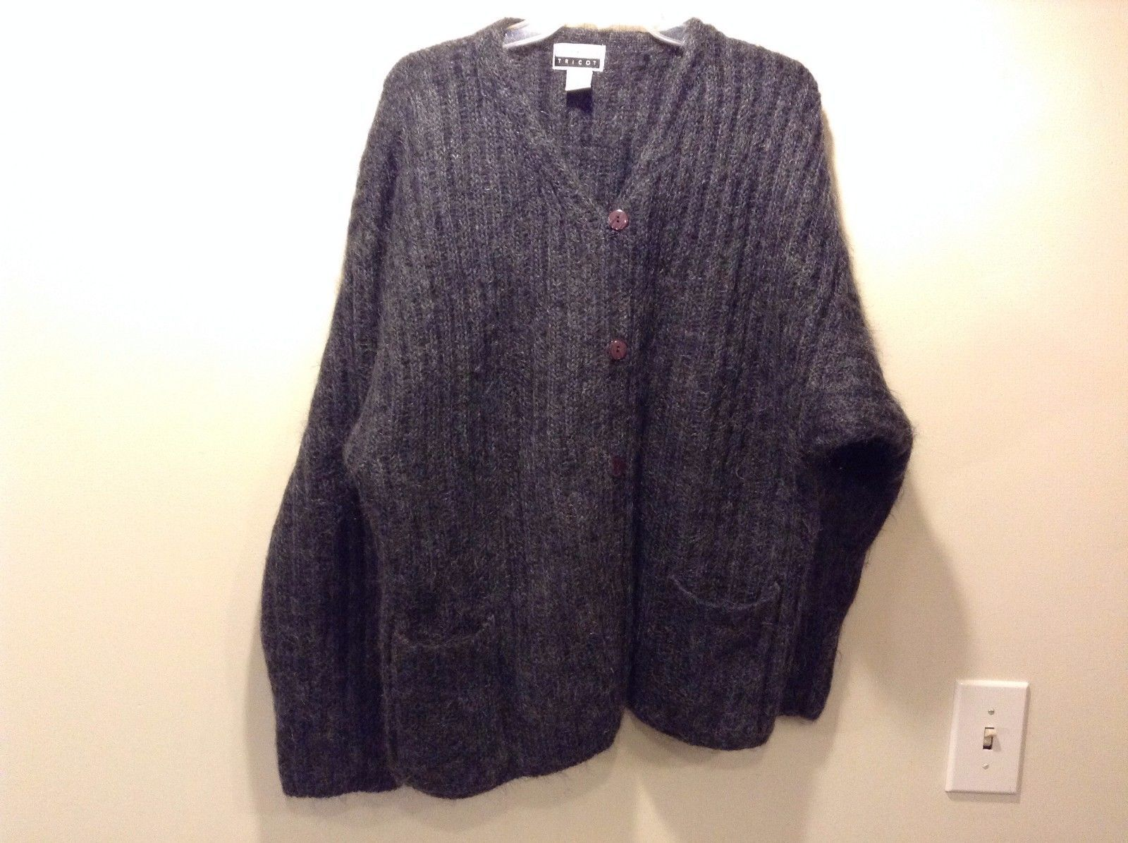 Used Great Condition Express Tricot Medium Slate Gray Cardigan Jacket