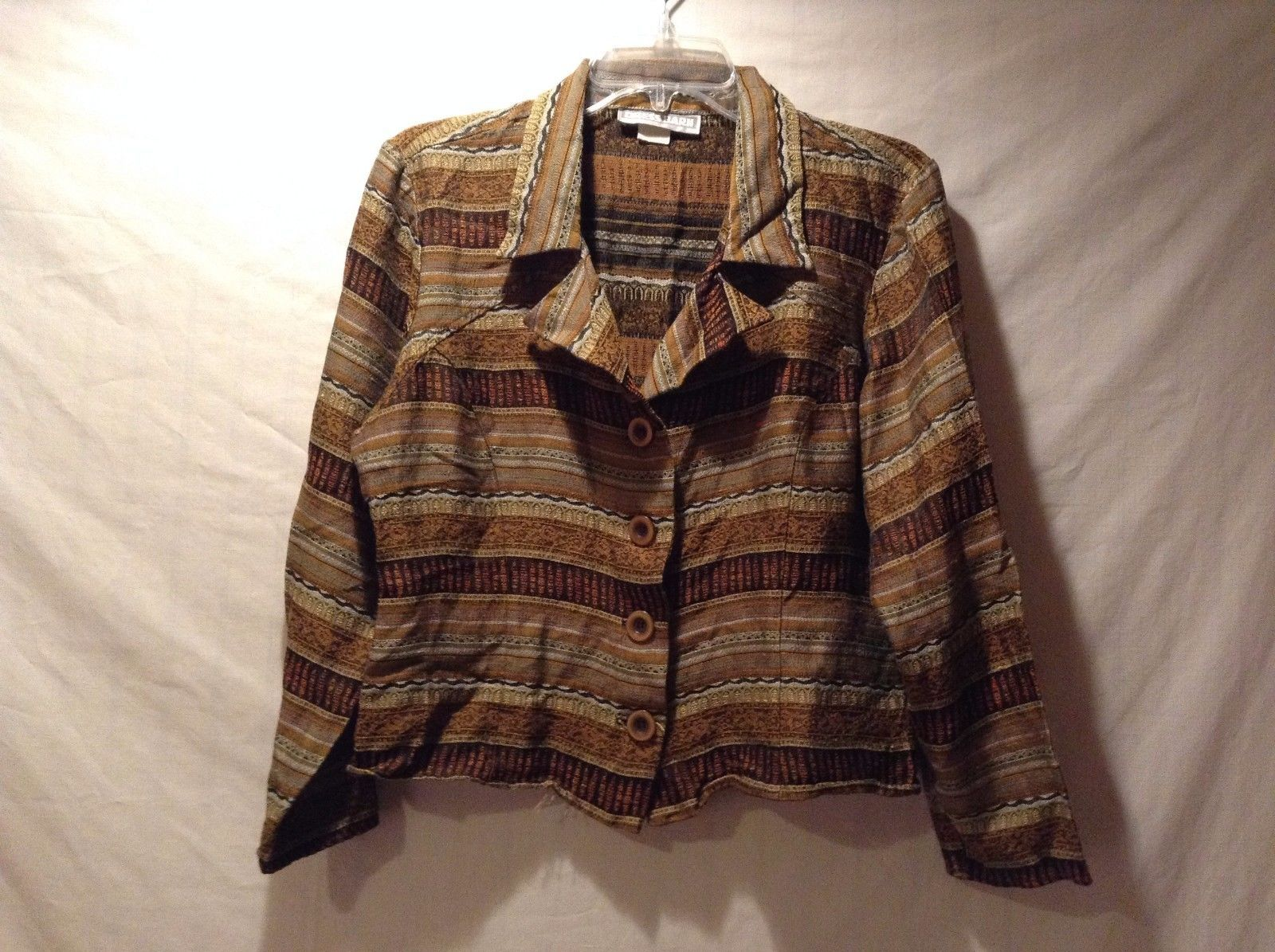 Used Great Condition Dress Barn Brown and Tan Long Sleeve Cardigan Jacket Cotton