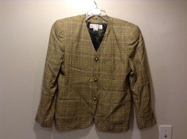 Used Great Condition Rena Rowan Yellow Brown Plaid Size 14 Cotton Blend Blazer