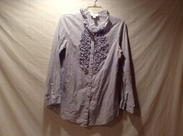 Used Great Condition Loft Light Blue Women's Ruffled Collar Button Up Shirt