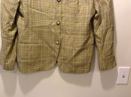 Used Great Condition Rena Rowan Yellow Brown Plaid Size 14 Cotton Blend Blazer image 2