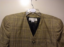 Used Great Condition Rena Rowan Yellow Brown Plaid Size 14 Cotton Blend Blazer image 3