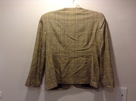 Used Great Condition Rena Rowan Yellow Brown Plaid Size 14 Cotton Blend Blazer image 5