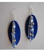 Blue White Beaded Oval Wood Earrings Handcrafte... - $48.00