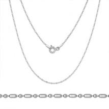 1.5mm Women's Stylish 925 Silver 14K White Gold Ball-Bear-Bar Link Italy Chain - $28.21+