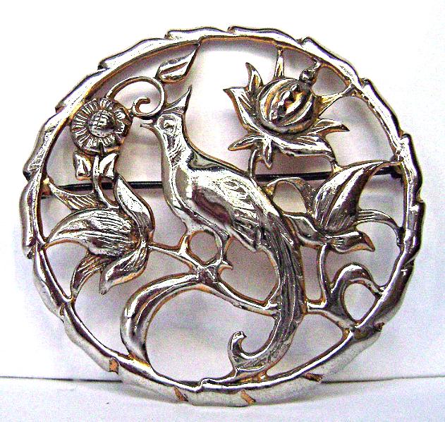 Vintage Sterling Bird of Paradise Brooch Bond Boyd Art Nouveau Style
