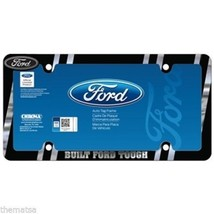 FORD BUILT TOUGH BLACK CHROME LICENSE PLATE FRAME MADE IN USA - $37.61