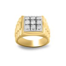 Men's 14K Yellow Gold Finish .925 Silver 9 Stone Diamond Engagement Wedd... - $79.99