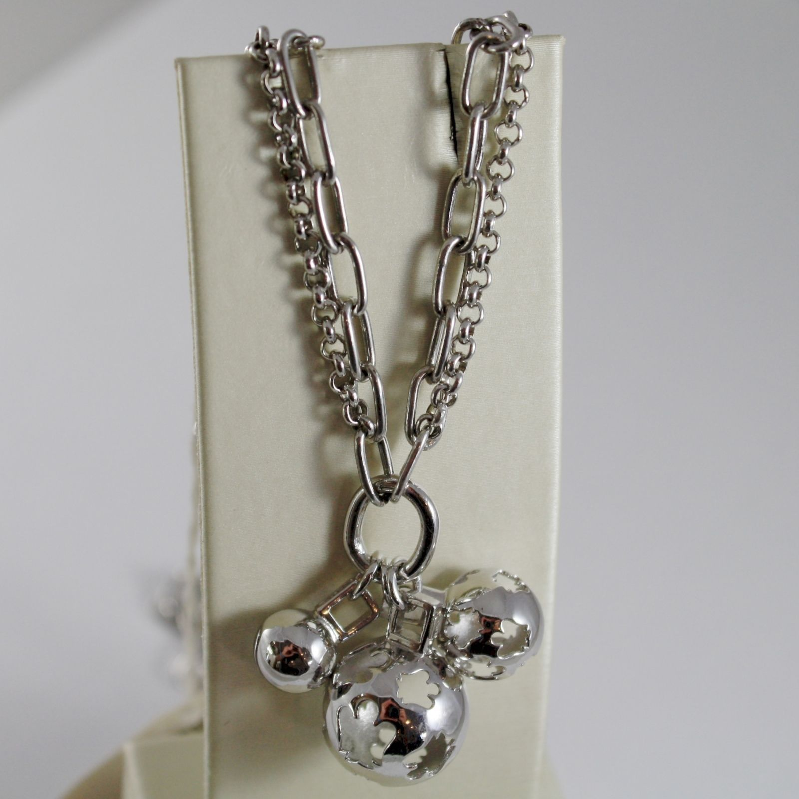 ROBERTO GIANNOTTI 925 SILVER NECKLACE 3 HARMONY BALLS ANGEL CALLER DOUBLE CHAIN