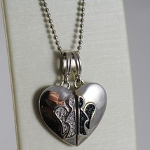 ROBERTO GIANNOTTI 925 SILVER BALLS CHAIN DOUBLE HEART ANGEL PENDANT MADE ITALY image 2