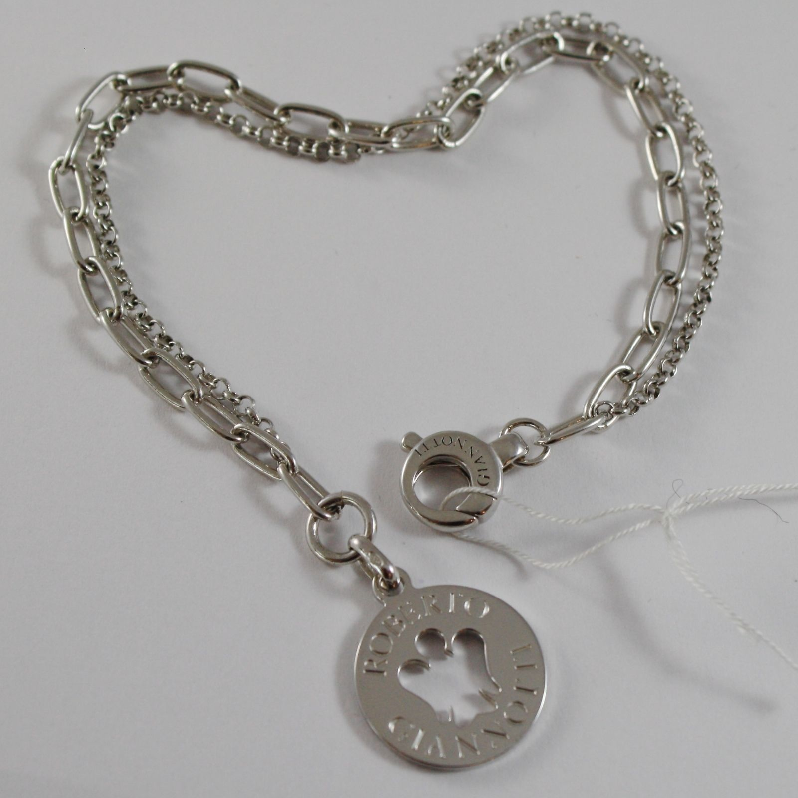 ROBERTO GIANNOTTI 925 SILVER BRACELET ANGEL DISC DOUBLE CHAIN MADE IN ITALY