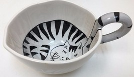 Pier 1 Imports Tea/Coffee Cup Cat Design Stripe... - $14.01