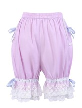 Purple Cotton Lace Ribbon Victorian Pumpkin Pants Bloomers Shorts - $18.99
