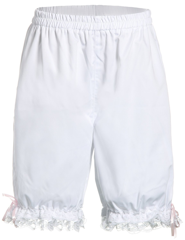 White Cotton Lace Retro Victorian Pumpking Pants Bloomers Shorts - $18.99