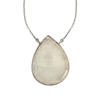 Natural Rainbow Moonstone Gemstone Solid 925 Sterling Silver Necklace SH... - $82.49