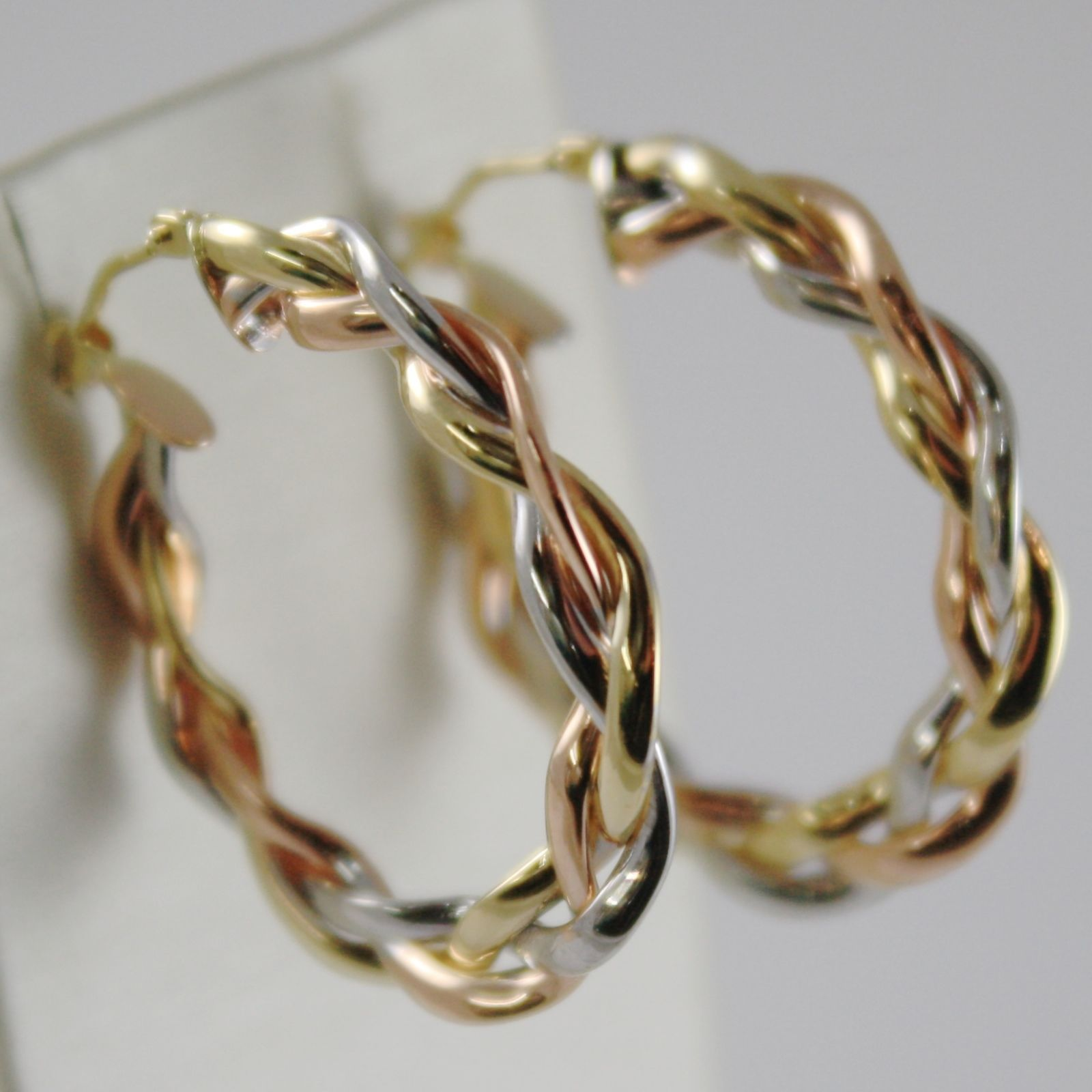 SOLID 18K YELLOW, WHITE AND ROSE GOLD CIRCLE, HOOP BRAID EARRINGS, MADE IN ITALY