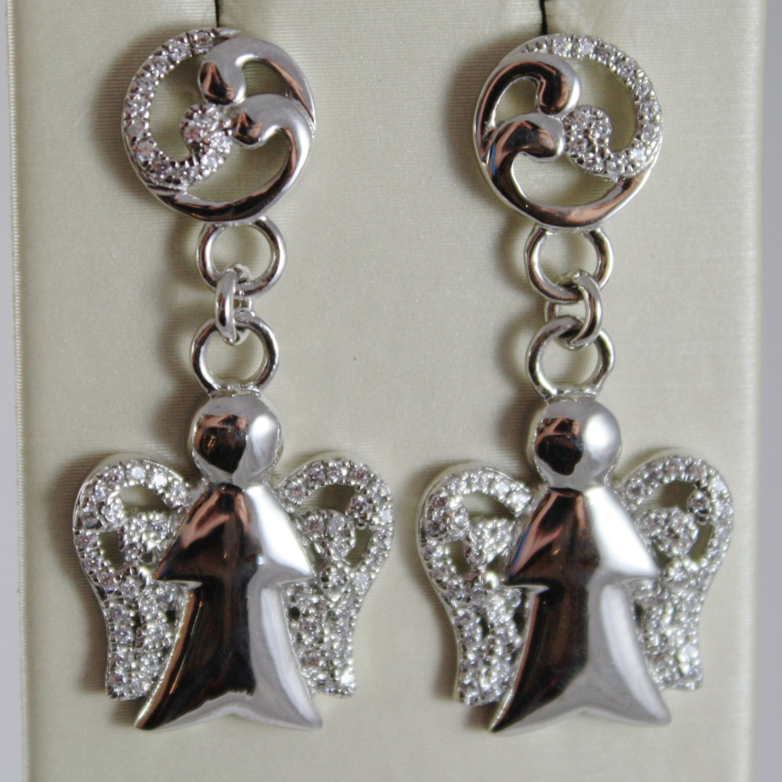 925 STERLING SILVER EARRINGS ANGELS PENDANT MADE IN ITALY BY ROBERTO GIANNOTTI