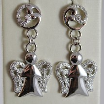 925 STERLING SILVER EARRINGS ANGELS PENDANT MADE IN ITALY BY ROBERTO GIANNOTTI image 1