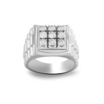 Men's Simulated Diamond Engagement Wedding Ring in White Gold Finish .92... - $79.99