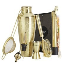 VonShef 9pc Gold Parisian Cocktail Shaker Bartender Set with Gift Box, R... - $68.76 CAD
