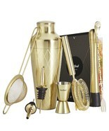 VonShef 9pc Gold Parisian Cocktail Shaker Bartender Set with Gift Box, R... - £40.47 GBP