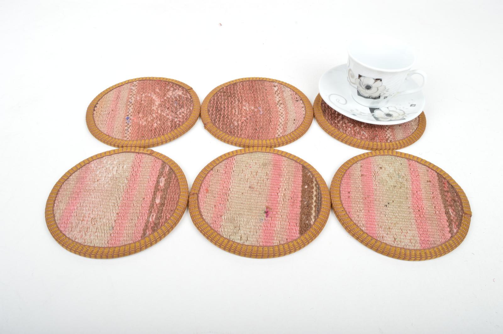 kilim coaster,drink coasters ,coffee Coaster,handmade Kilim Coaster set 6 pcs,  - $29.00