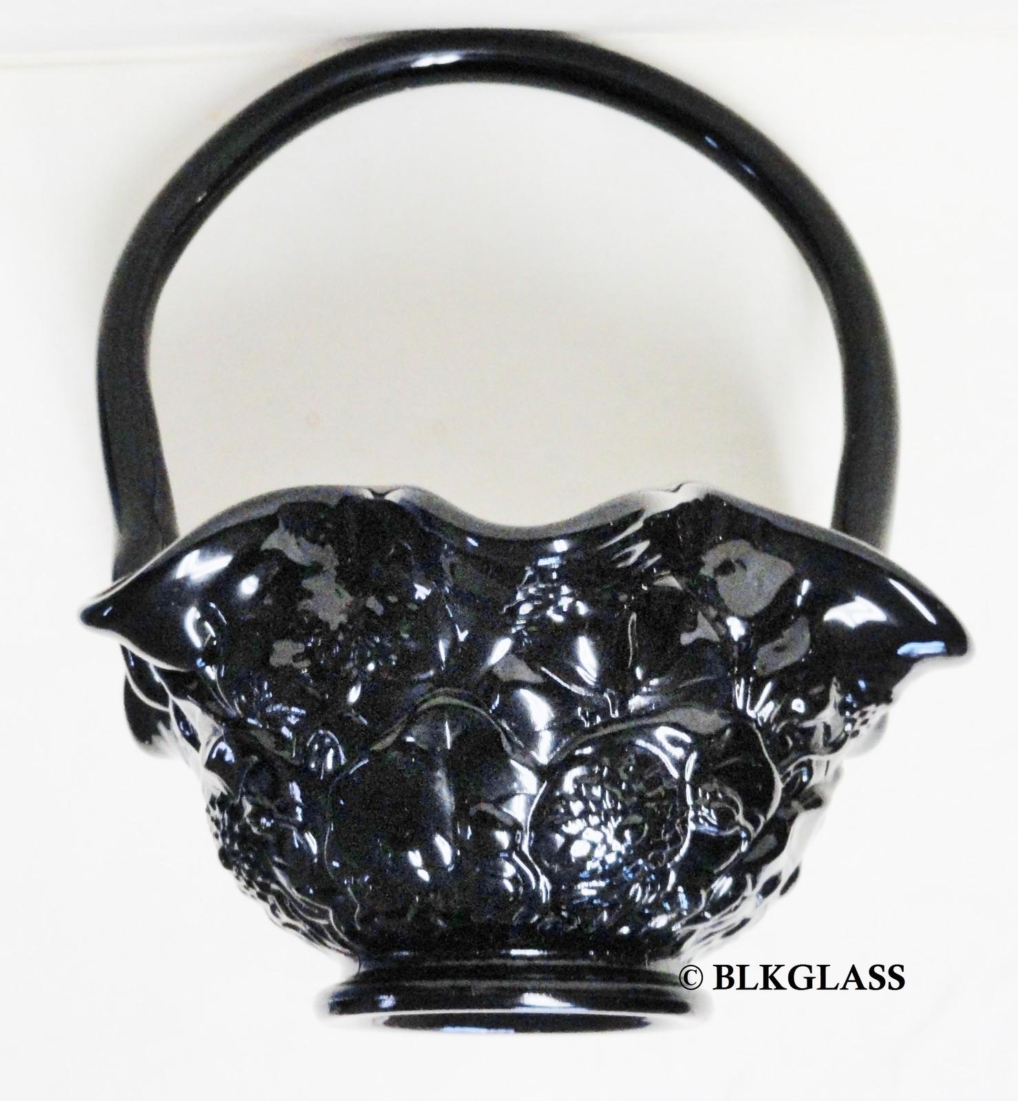 Jet Black Glass Basket - Heavy Molded Pattern Daisy Flowers - $34.58