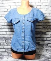 Bonjour Women's Blue Denim Buttoned Down Shirt  Size: M